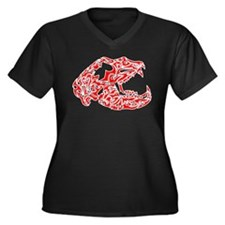 Red and White Bear Skull Women's Plus Size V-Neck