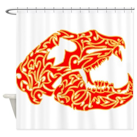 Red And Yellow Bear Skull Shower Curtain By Azizahs Artbox