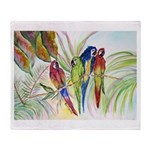 Parrots for duvet.png Throw Blanket