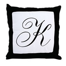 K Initial Black and White Sript Throw Pillow