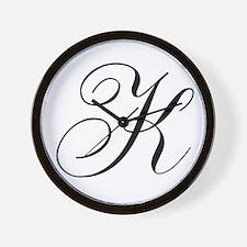K Initial Black and White Sript Wall Clock