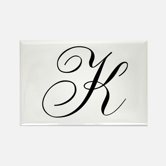 K Initial Black and White Sript Rectangle Magnet