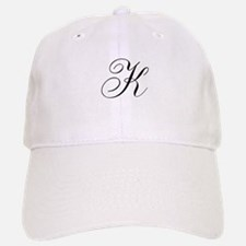 K Initial Black and White Sript Baseball Baseball Cap