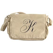 K Initial Black and White Sript Messenger Bag