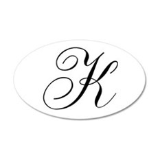 K Initial Black and White Sript 20x12 Oval Wall De