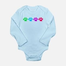 Rainbow Colored Paws Long Sleeve Infant Bodysuit