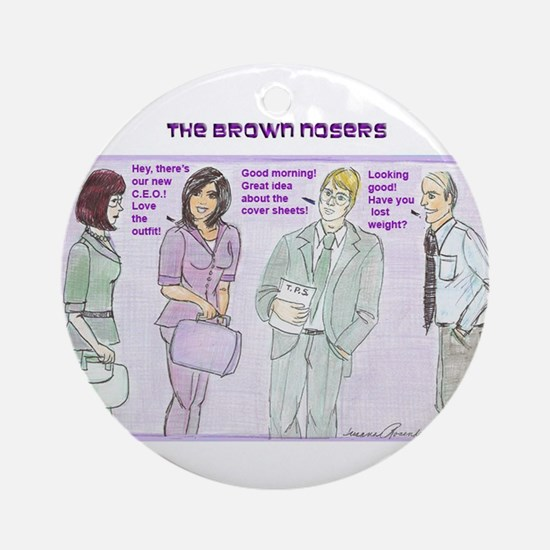 Brown Nosers Ornament (Round)