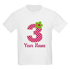3rd Birthday Pink Green T-Shirt