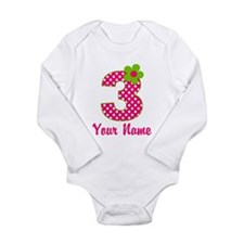 3rd Birthday Pink Green Long Sleeve Infant Bodysui