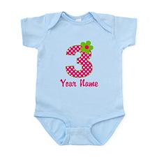 3rd Birthday Pink Green Infant Bodysuit