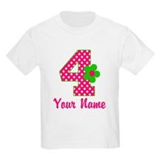 4th Birthday Pink Green T-Shirt