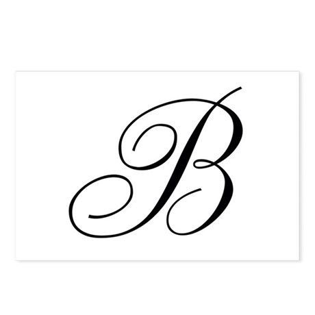 B Initial Black and White Sript Postcards (Package