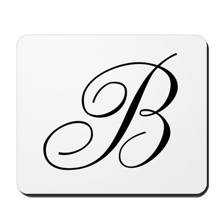 B Initial Black and White Sript Mousepad