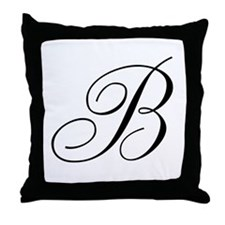 B Initial Black and White Sript Throw Pillow