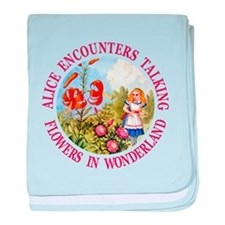 Alice Encounters Talking Flowers baby blanket