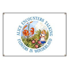 Alice Encounters Talking Flowers Banner