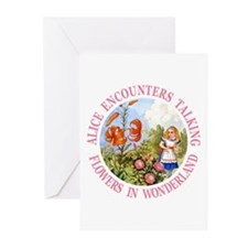 Alice Encounters Talking Flowers Greeting Cards (P