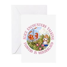 Alice Encounters Talking Flowers Greeting Card