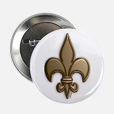 """Gold Fleur De Lis 2.25"""" Button"""