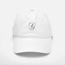 G Initial Black and White Sript Baseball Baseball Cap