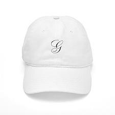 G Initial Black and White Sript Baseball Cap