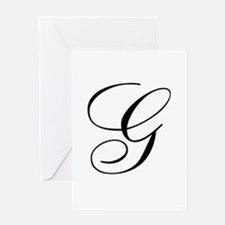 G Initial Black and White Sript Greeting Card