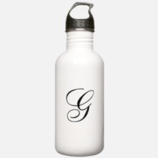 G Initial Black and White Sript Water Bottle