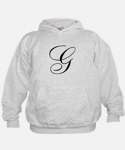 G Initial Black and White Sript Hoodie