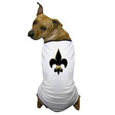 Fleur De Lis Black and Gold Dog T-Shirt