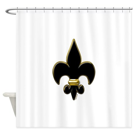 Fleur De Lis Black And Gold Shower Curtain By VoodooTs
