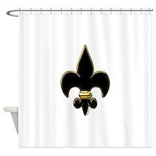 Fleur De Lis Black and Gold Shower Curtain