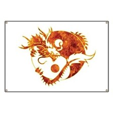 Yin Yang Dragon Fire Banner