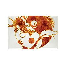 Yin Yang Dragon Fire Rectangle Magnet