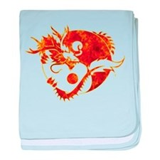 Yin Yang Dragon Fire baby blanket