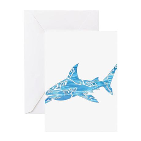 Great White Shark Grey Greeting Card