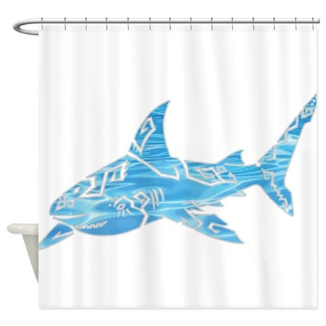 Great white shark grey shower curtain by azizahs artbox
