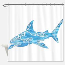 Great White Shark Grey Shower Curtain