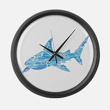 Great White Shark Grey Large Wall Clock