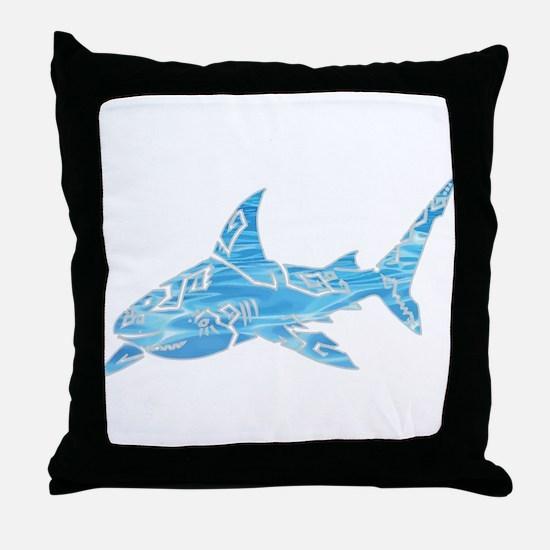 Great White Shark Grey Throw Pillow