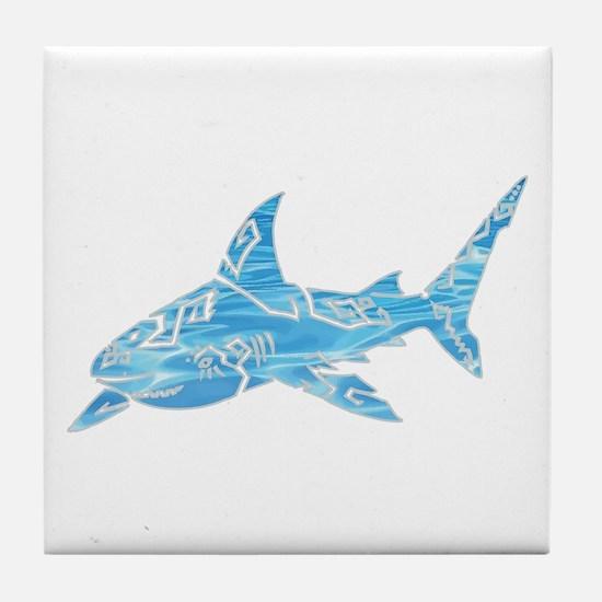 Great White Shark Grey Tile Coaster