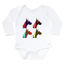Great Dane Pop Art Long Sleeve Infant Bodysuit
