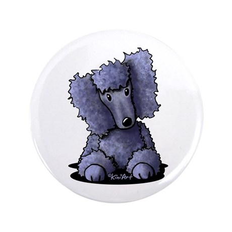 "Blue Poodle 3.5"" Button (100 pack)"