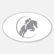 Horse Jumping Sticker (Oval)
