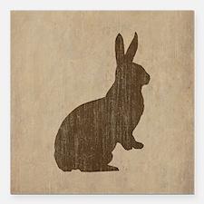 """Vintage Rabbit Square Car Magnet 3"""" x 3"""""""