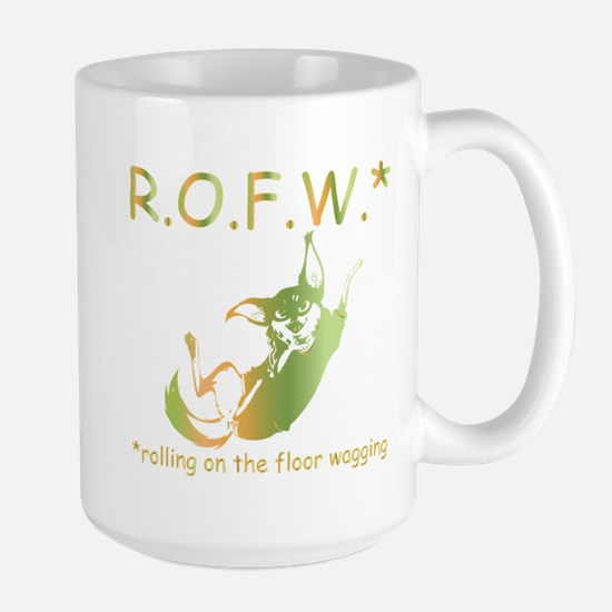 rolling on the floor wagging Large Mug