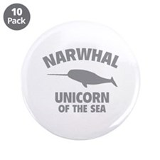 """Narwhale Unicorn of the Sea 3.5"""" Button (10 pack)"""