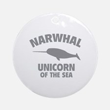 Narwhale Unicorn of the Sea Ornament (Round)