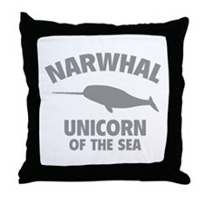 Narwhale Unicorn of the Sea Throw Pillow