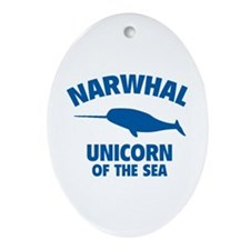 Narwhale Unicorn of the Sea Ornament (Oval)