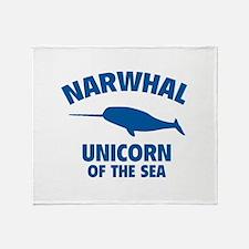 Narwhale Unicorn of the Sea Throw Blanket
